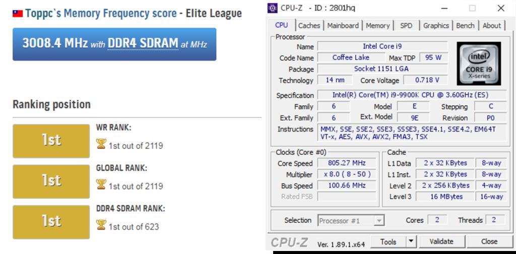 Segnato un nuovo record mondiale DDR4-6000MHz con Z390I